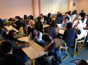 International MBA and Exchange students at IGR University in Rennes, France - exploring worldviews and what gives them strength in a World Cafe.